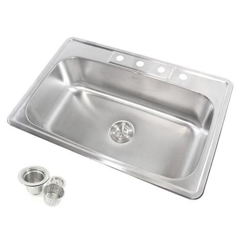 overstock stainless steel kitchen sinks stainless steel top mount drop in single bowl kitchen sink