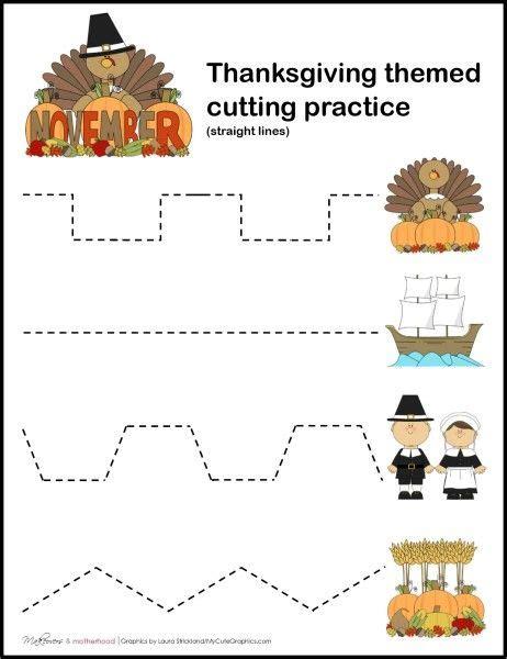 free thanksgiving cutting practice worksheets kid