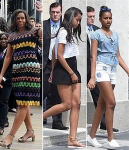 Malia & Sasha Obama Sport Shorts, Michelle Obama Dons ...