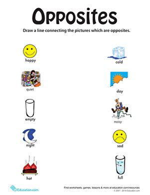 identifying opposites from happy to full worksheet
