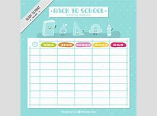 Nice school schedule with drawings Vector Free Download