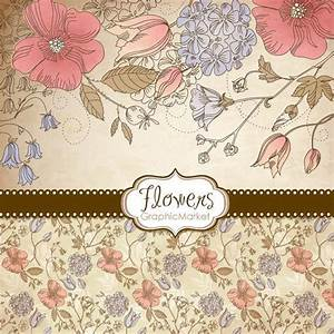 5 flower designs digital papers clipart and card With wedding invitation templates commercial use