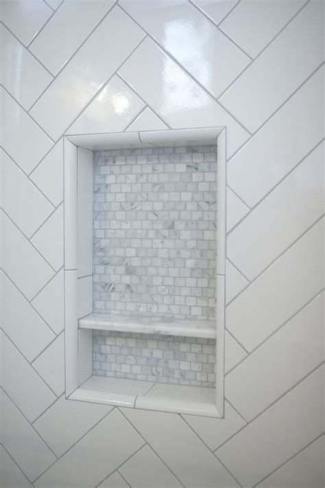 shower niche  shower niche features marble mosaic tile