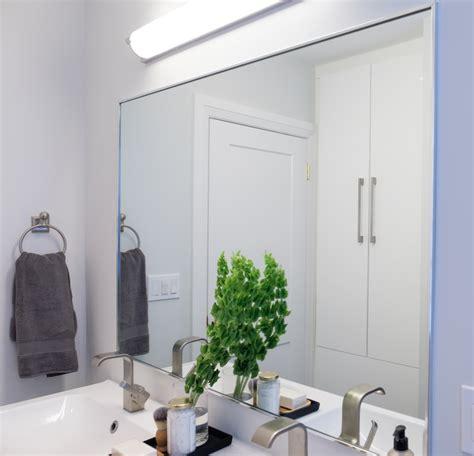 bathroom custom framed mirror in brushed nickel