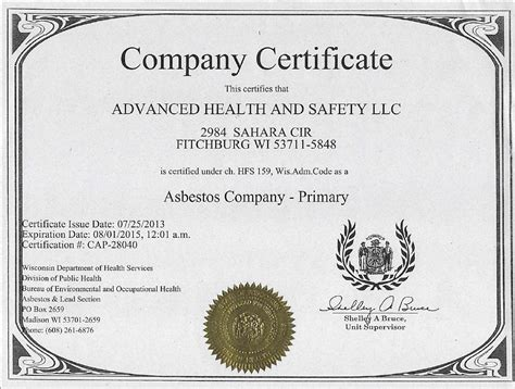 licenses certifications advanced health  safety