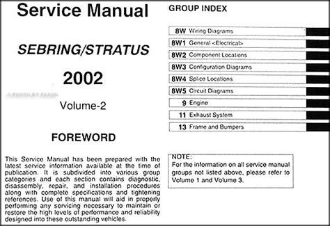 automotive service manuals 2001 chrysler sebring on board diagnostic system 2002 sebring stratus coupe repair shop manual original 3 volume set