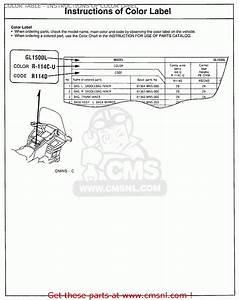 Honda Gl1500 Goldwing 1990  L  Usa California Color Table