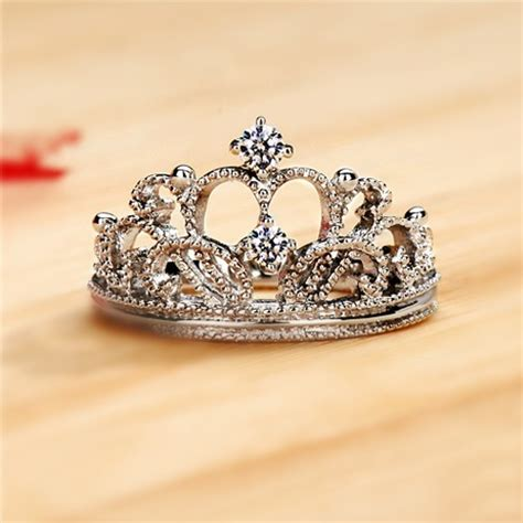 Exquisite Princess Crown Cubic Zirconia 925 Sterling Silver Wedding Ring Engagement Ring