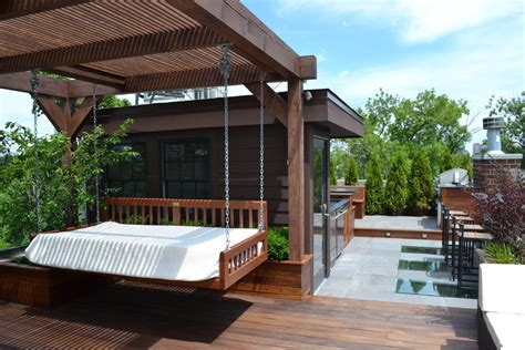 pergola swing deck contemporary with bbq chairs chimney