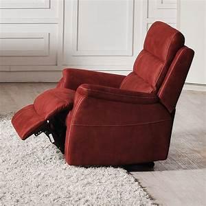 fauteuil relax lectrique rouge en tissu sofamobili With tapis berbere avec canapé relax belgique