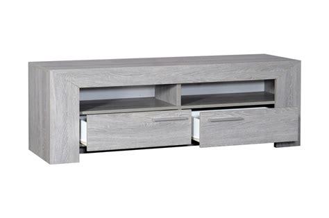 armoire chambre noir laqué meuble tv 2 tiroirs 2 niches chêne gris clair ou foncé
