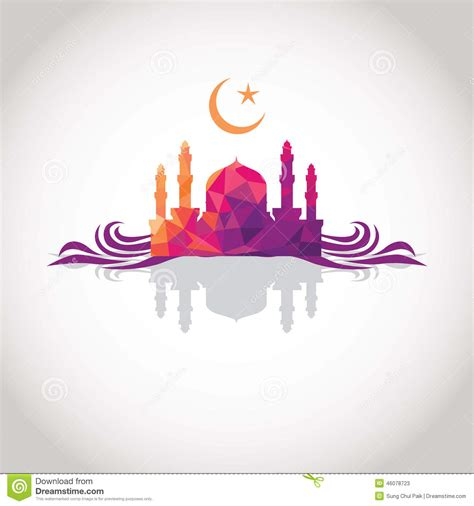 faith pink colorful mosaic design mosque stock vector image 46078723