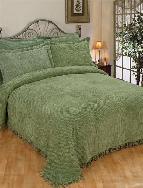 Green Coverlets by New Green Cotton Chenille Bedspread Set Ebay