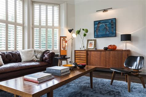 Bay Window Furniture Living Room Midcentury with