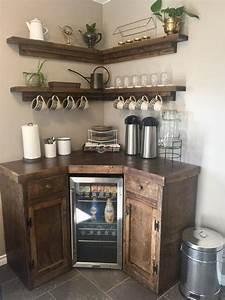 Corner Coffee Station With Floating Shelves  U2013 Custom