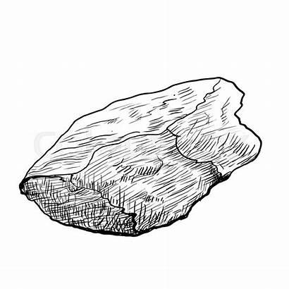 Rock Drawing Line Hand Vector Stone Rocks