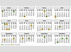 Calendario Mensual 2018 [Excel, Word, PDF] Calendario