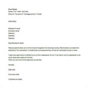 Resignation Letter Email Template