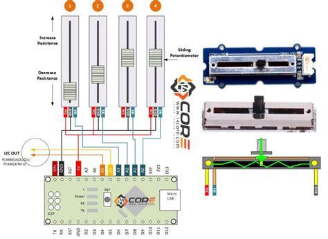 wiring sliding potentiometer on microcontroller 14core