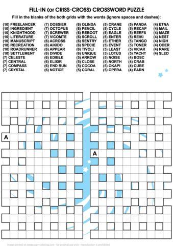 criss cross  crossword puzzle  printable puzzle games