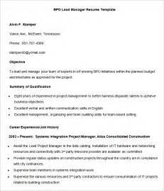 bpo resume templates 35 free sles exles format