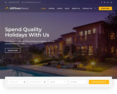 the best website for 20 hotel website templates to build the best booking