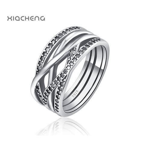925 sterling silver women wedding rings with full crystal