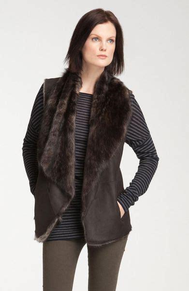 Draped Vest - vince draped genuine shearling vest in brown brown