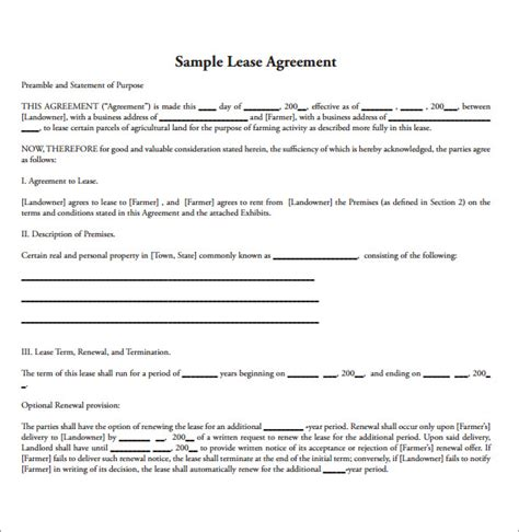 sample land lease agreement   documents   word