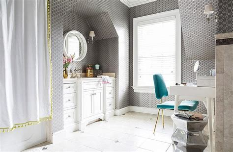 white  gray bathroom  turquoise blue accents