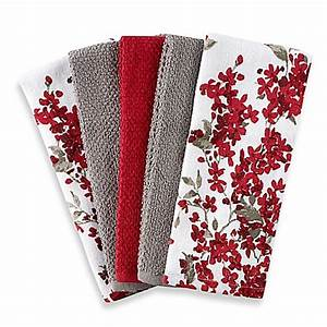 Cherry Blossom 5-Pack Kitchen Towel Set in Red/White - www