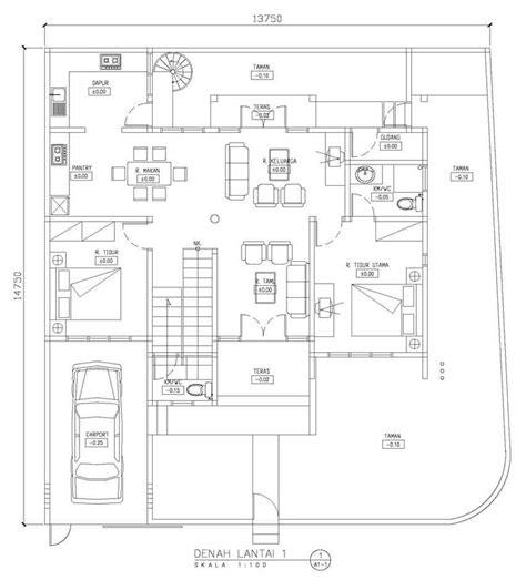 contoh denah rumah sudut hook gambar desain rumah