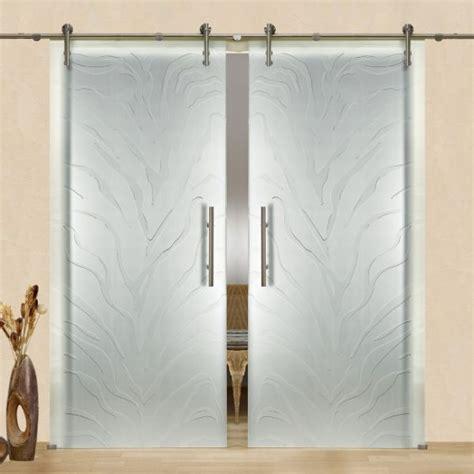 frameless sliding glass barn door frosted   side