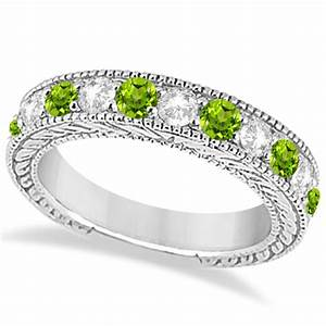 Antique diamond peridot bridal wedding ring set for Peridot wedding ring set