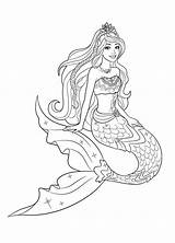Mermaid Coloring Barbie Pages sketch template