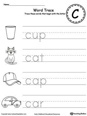 Trace Words That Begin With Letter Sound C Writing