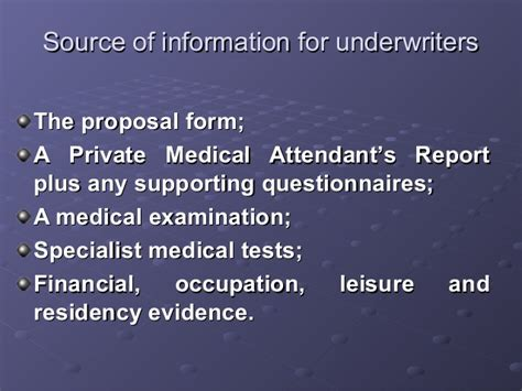 Maybe you would like to learn more about one of these? Life Insurance Underwriting