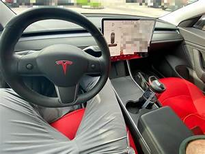 Aftermarket Red Seat Covers Installed in Tesla Model 3 – Tesla Model 3 Wiki