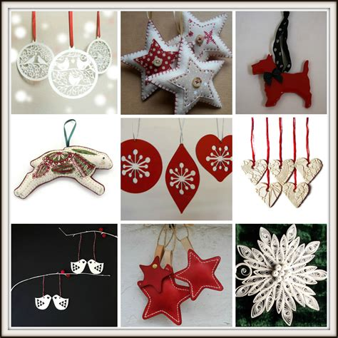 handmade red and white christmas tree decorations from
