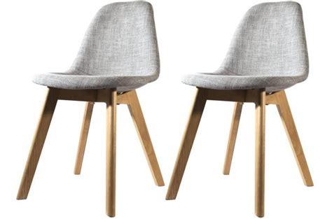 mobilier chambre pas cher lot de 2 chaises scandinave en tissu grise design