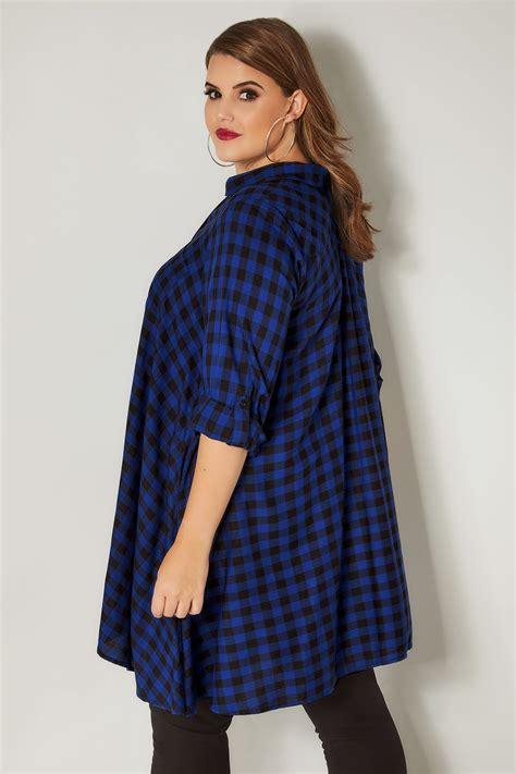 cobalt blue longline checked shirt  hanky hem  size