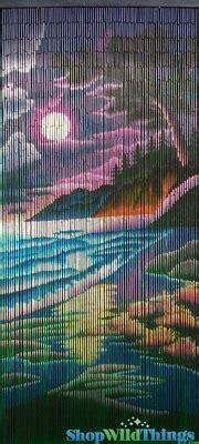 colorful beach scene bamboo painted beaded curtain