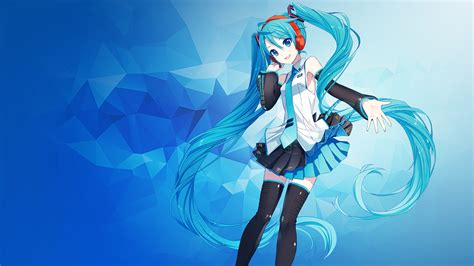Hatsune Miku Anime Wallpaper - wallpaper hatsune miku anime polygons blue 4k