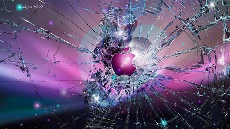 herunterladen  full hd hintergrundbilder apple logo emblem gebrochen glas p