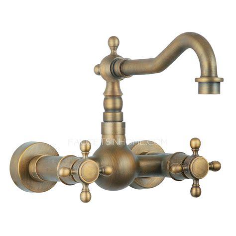 antique brass kitchen faucet affordable antique brass two wall mount kitchen faucets
