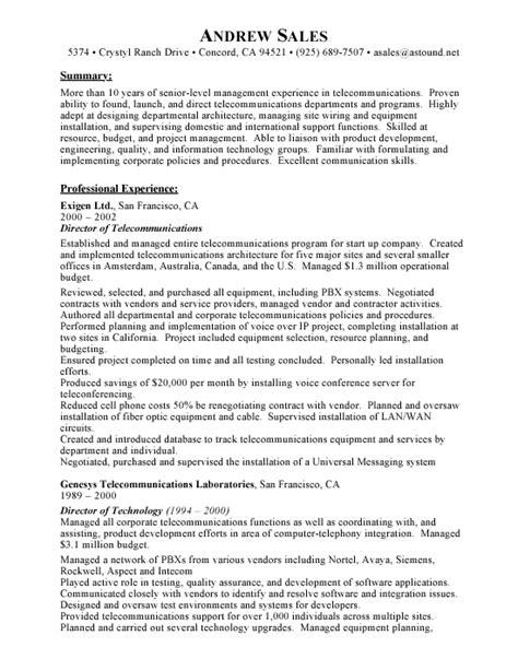 Telecommunications Resume by Pin Telecom Resume Exle Sle Telecommunications