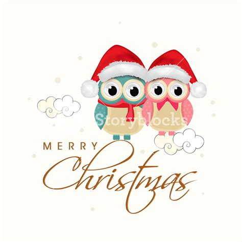 beautiful poster for christmas with owls wearing santa s cap and stylish text of merry christmas