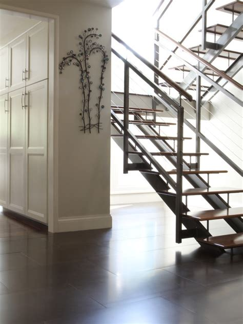 staircase center stringer stair railing connected