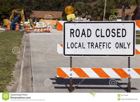 road closed stock photo image  blocked industrial