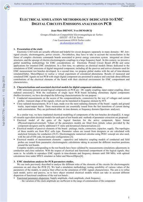 Pdf Electrical Simulation Methodology Dedicated Emc